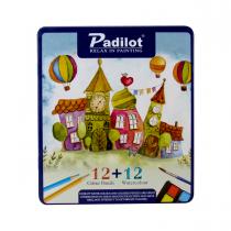 مداد رنگی و آبرنگ 12+12 رنگ پادیلوت جعبه فلز