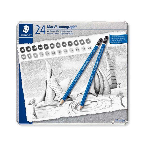 ست مداد طراحی لوموگراف استدلر 24 عددی جعبه فلز