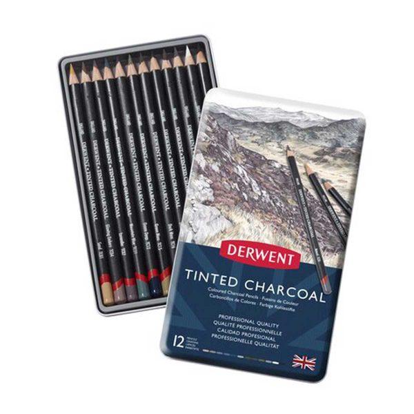 مدادرنگی زغالی 12 رنگ درونت جعبه فلز